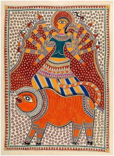 Madhubani_Durga Durga Maa Paintings, Durga Painting, Buddha Kunst, Buddha Art, Madhubani Art, Madhubani Painting, Rainbow Serpent, Indian Folk Art, Tribal Art