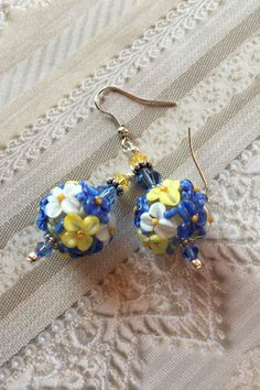 Lavender, White and YellowFlower/Floral Earrings, Lampwork Jewelry, SRA Lampwork Earrings, SRA Lampwork Jewelry, Mothers Day, Gift For Her