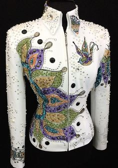 Hand-Painted Jacket by Dry Creek Designs ~ Ladies Medium/Large – Just Peachy maybe with a sunflower Western Show Shirts, Western Show Clothes, Horse Show Clothes, Western Outfits, Western Wear, Colorful Fashion, Boho Fashion, Showmanship Jacket, Show Jackets