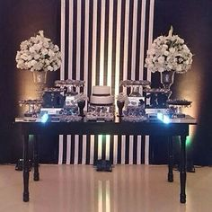 Design needs something arching across backdrop, between the vases. Otherwise the vases are too tall for the center and they drown everything else on the table. Chanel Birthday Party, Chanel Party, 30th Birthday Parties, Party Decoration, Birthday Decorations, Wedding Decorations, Black Tie Party, Paris Party, Eiffel