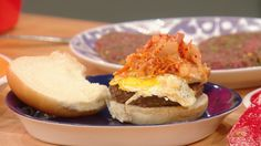 Mimi Chang's Kalbi Burger with Kimchee Slaw and Fried Egg . I would use ground short ribs in this recipe! But I can't wait to try it!