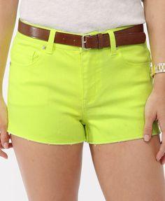 High-Rise Neon Shorts w/ Belt