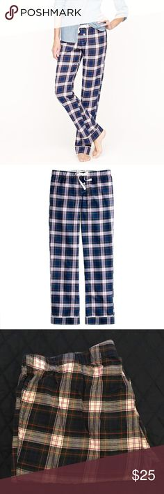 """VGUC J.Crew Sleep Pant in Plaid Tailored piping at the cuffs adds just the touch of polish, making this pant great for lounging as well as snoozing. Cotton. Elastic waistband with drawstring. 32 1/2"""" inseam. Machine wash. J. Crew Intimates & Sleepwear Pajamas"""