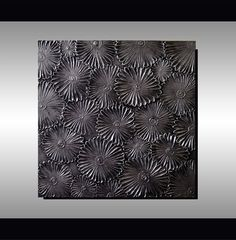 Original Modern Metallic Silver Floral Art, Abstract, Heavy Textured Flowers Painting 24X24 Ready to Hang, Office Art, Home Decor Artwork