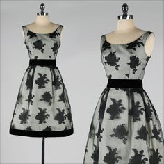 vintage 1950s dress . sheer black floral . von millstreetvintage, $175.00