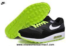 Mens Nike Air Max 1 87 White Green Black Running Shoe Clearance Sale