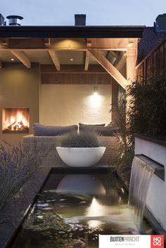 Buitenpracht Houtbouw - Landscaping with pond and veranda Pond Design, Landscape Design, Garden Design, Patio Design, Small Gardens, Outdoor Gardens, Roof Gardens, Outdoor Rooms, Outdoor Living