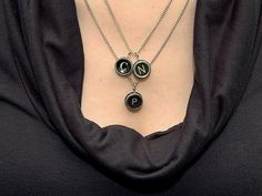 Vintage Typewriter Key Pendant Necklace