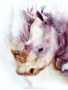 Beart24 - Watercolor Artworks, rhino