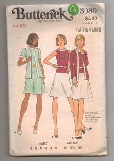 Vintage Butterick 3080 Fitted Sleeveless Dress and Jacket size 20   jjandedt - Clothing on ArtFire