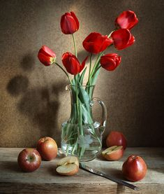 With tulips and apples