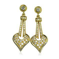 Diamond Earring, Yellowgold  Diamant Ohrringe, Gelbgold Ohrhänger mit 1,797ct Diamanten