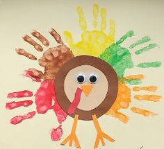 Classic Handprint Turkeys. A Thanksgiving crafts for kids.    #Thanksgiving #kidscrafts #handprints