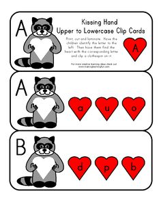Kissing Hand Upper to Lowercase Clip Cards