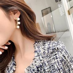 ZG New Asymmetric Pearl Long Drop Earrings Fashion Korean Women Geomet – Touchy Style