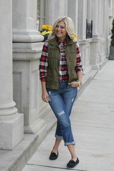 plaid shirt + boyfriend jeans + vest + smoking flats {Suburban Faux-Pas: Toronto Style Blog Series: KL + SS}