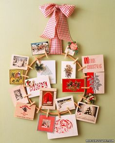 photo/card display wreath. make for my mom to hang her cards on.
