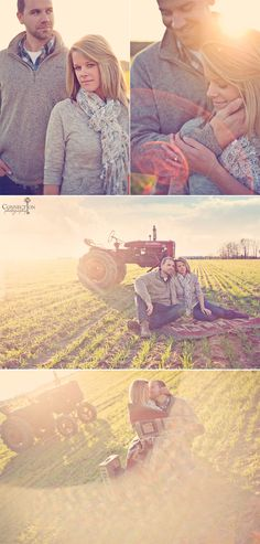 What's a barnyard wedding without engagement photos with tractors to boot? Gorgeous photos by Connection Photography.