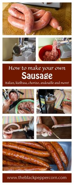 beef sausage How to Make Sausage Recipe - Detailed instructions for making homemade sausage. Great for Italian sausage, Mexican chorizo, kielbasa, andouille and more. How to use a meat grinder and stuffer. Homemade Italian Sausage, Homemade Sausage Recipes, Italian Sausage Recipes, Pork Recipes, Cooking Recipes, Italian Cooking, Oven Recipes, Vegetarian Cooking, Easy Cooking