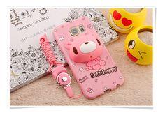 note7カバーシリコン保護かわいいピンクキャラクター男女ストラップ付きイヤホン収納ソフト携帯カバー
