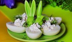 Jajka z chrzanowym farszem Panna Cotta, Pizza, Ethnic Recipes, Easter, Food, Dulce De Leche, Easter Activities, Eten, Meals