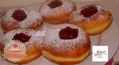 Szalagos fánk Hungarian Recipes, Doughnut, Bakery, Dishes, Desserts, Pizza, Food, Tailgate Desserts, Deserts