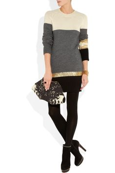 Vionnet stripe knitted sweater dress. Shown here with: Oscar de la Renta cuff, Maison Martin Margiela ring, Wolford tights, Christian Louboutin boots, Alexander McQueen clutch.
