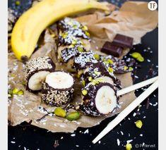 La banane sushi nappée de chocolat noir