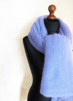 Lilac mohair shawl extra large wrap hand knit silk by Renavere, $90.00