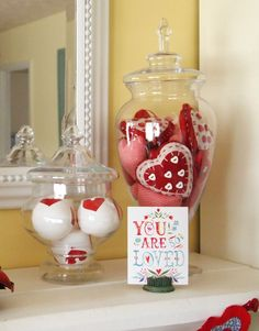 Jar of Hearts - Valentine's Day Mantel