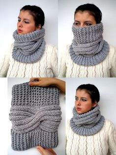 Grey Tour Fashion Cowl Super Soft Wool Neckwarmer by GiuliaKnit - norma arias - Natural Beige J Cozy Cowl Super Soft Wool by GiuliaKnit on Etsy (gauge changes? This Pin was discovered by Lau Correo: Santiago Z. Loom Knitting, Free Knitting, Knitting Patterns, Crochet Patterns, Crochet Scarves, Crochet Shawl, Knit Crochet, Knit Cowl, Neck Warmer