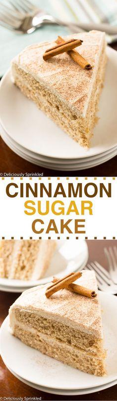 The BEST Cinnamon-Sugar Cake Recipe Thanksgiving Desserts, Christmas Desserts, Cake Recipes, Holiday Desserts, Easy Dessert Recipes, Cinnamon, Buttercream Frosting Recipes