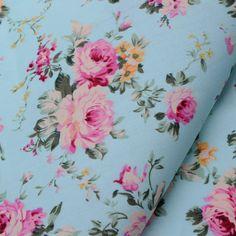 1 meter Hot Sale Light blue roses 100% cotton fabric Width 145cm wholesale…