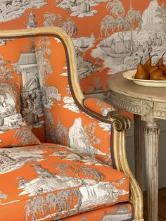 Love this orange chinoiserie toile from Manuel Canovas.with toile Manuel Canovas fabrics available through Jane Hall Design Tissu Chinoiserie, Stoff Design, Take A Seat, Accent Chairs, Upholstery, Interior Design, Design Design, Hall Design, Interior Ideas