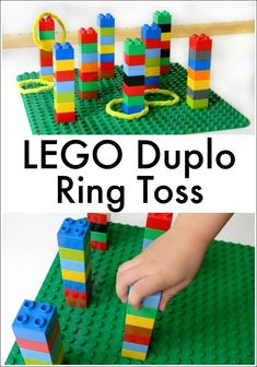 LEGO Duplo Ring Toss - Lego Batman - Ideas of Lego Batman - This DIY ring toss game is so easy even Robin can do it. Lego Batman Party, Lego Batman Birthday, Birthday Games, Diy Lego Birthday Party Ideas, Carnival Activities, Kids Carnival, Carnival Games, Lego Club, Fun Games For Kids