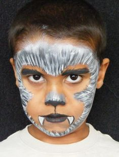 Simple face painting designs are not hard. Many people think that in order to have a great face painting creation, they have to use complex designs, rather then Werewolf Face Paint, Werewolf Makeup, Vampire Face Paint, Werewolf Costume Kids, Kids Wolf Costume, Face Painting Halloween Kids, Couple Halloween, Halloween Facepaint Kids, Halloween Makeup For Kids