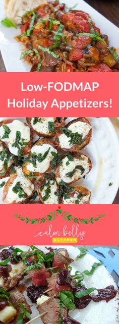 Recipes for Eggplant Caponata, Crostini with Prosciutto, Sage, and Mozzarella and Steak-Blue Cheese Bites with Savory Grape Jam are ALL low FODMAP and they'll wow your guests for Thanksgiving and Christmas parties! Click through to get all 3 appetizer recipes!