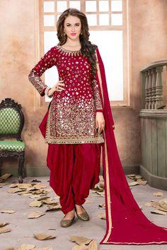 Gorgeous Red Color Indian Fashion Beautiful Mirror Work Designer Party Wear Style Tapheta Silk Fabric Punjabi Traditional Wear Patiala Salwar Suit #twisha #aanaya #partywear #designerdress #patialastyle #mirrorwork #salwarsuit #salwarkameez #punjabistyle #indianbride #bridalwear #shadiseason #weddingwear #indianwomenfashion #traditionalwear #outfits #attractivewear #beautifuldresses #heavywork #embroidered #usa #uk #kenya #canada #punjab #banglore #australia #germany #france