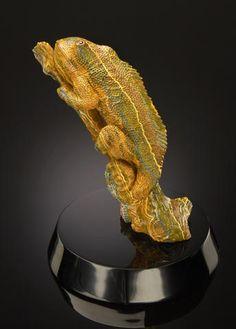 Ocean Jasper Carving of a Chameleon