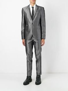 Les Hommes geometric jacquard suit