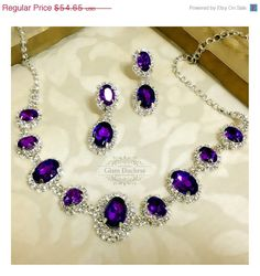 Bridal Necklace and Earring Set, Crystal Statement Necklace, Back Drop Necklace, Bridesmaid Statement Necklace Jewelry Set - Wedding jewelry set bridesmaid jewelry set Bridal by GlamDuchess - Bridesmaid Statement Necklace, Crystal Statement Necklace, Dainty Diamond Necklace, Bridesmaid Jewelry Sets, Bridal Necklace, Drop Necklace, Crystal Jewelry, Jewelry Necklaces, Purple Necklace