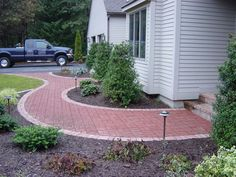 Front Walkway Landscaping Ideas 36 - Have Fun Decor Front Walkway Landscaping, Outdoor Walkway, Brick Walkway, Outdoor Decor, Walkway Ideas, Stamped Concrete Walkway, Landscaping Supplies, Landscaping Ideas, Landscaping Software
