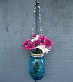 Hanging Mason Jar Vase by Tickled Pink