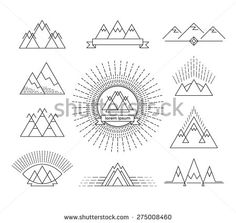 Set of linear mountain design elements. Isolated logotypes.  - stock vector