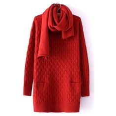 Red Long Sleeve Diaper Pockets Loose Sweater ($33) ❤ liked on Polyvore