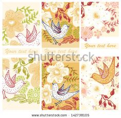 vector set of floral cards with blooming flowers and flying birds by Anna Paff, via ShutterStock