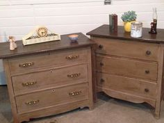 The base and drawers are painted with coco and the top of dresser is graphite and orange to make a deep brown. All is dark waxed to antique these family treasures.