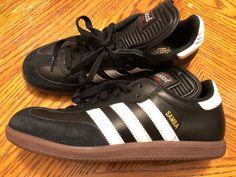 Adidas Samba Shoes Mens Size 6.5 Black W/White Stripes