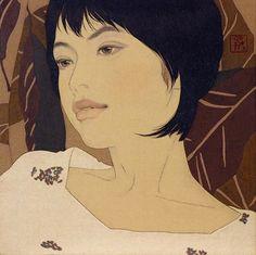 Yasunari Yasunari (Japanese, b. 1965), mineral pigments, ink on linen canvas  {figurative art beautiful female head asian woman face portrait painting #loveart #2good2btrue} ikenaga-yasunari.com