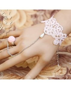 Classic Light Pink Lace Bracelet Pink Ring